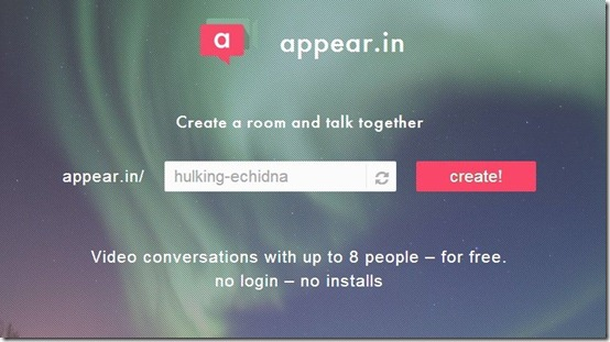 appear.in-online video chat-home page