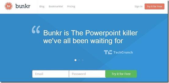 bunkr-online presentation maker-home page