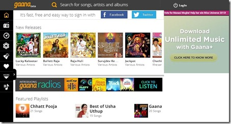 gaana.com-listen to music online-home page
