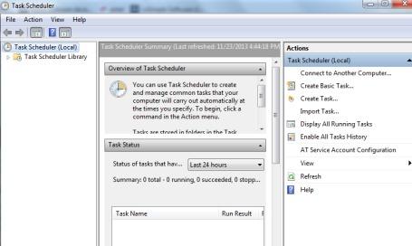 open task scheduler window