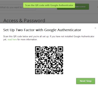 scan the barcode using Google Authenticator app