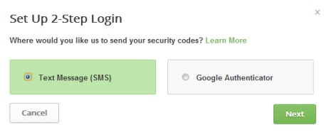two factor authentication in Buffer- select text message option