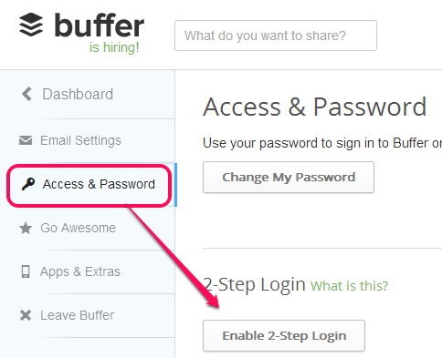 two factor authentication in Buffer- start the 2 step login process