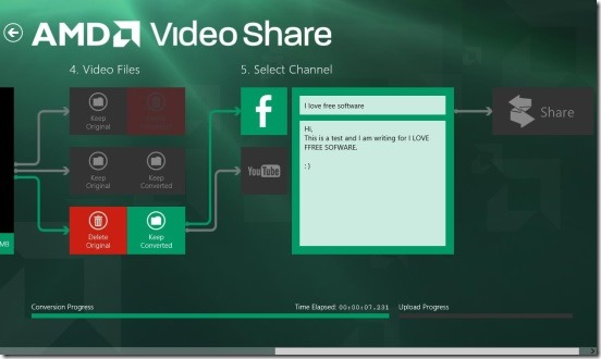 AMD Video Share - selecting channel and giving title, description