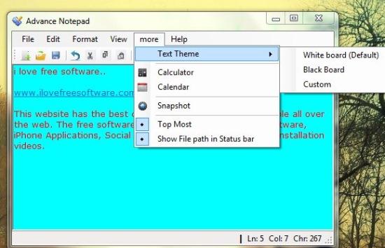 Advance Notepad- interface