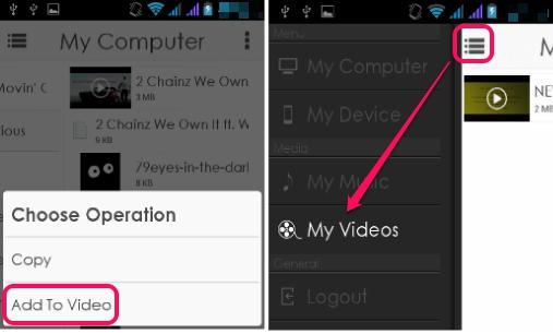 AirStream- add audio video to playlist