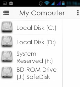AirStream- all PC drives on mobile app interface