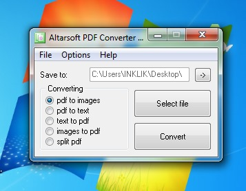 Altarsoft PDF Converter- interface