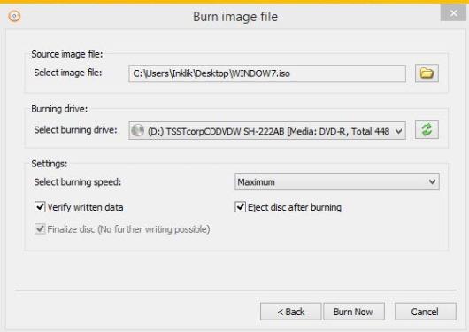 AnyBurn- burn image file