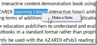Azardi-ePub3 reader-make note