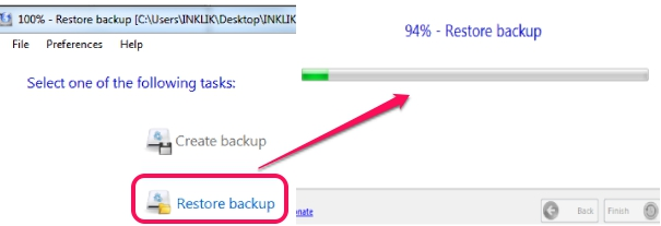 BrowserBackup- restore backup