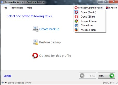 BrowserBackup- select a browser to create backup