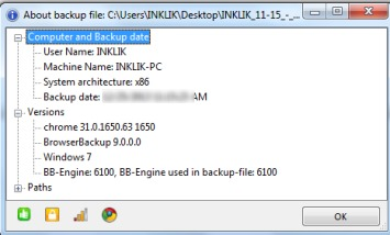 BrowserBackup- view backup information