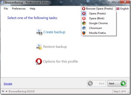 BrowserBackup-backup software-interface