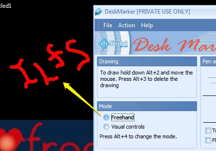 DeskMarker- draw on desktop using free hand mode