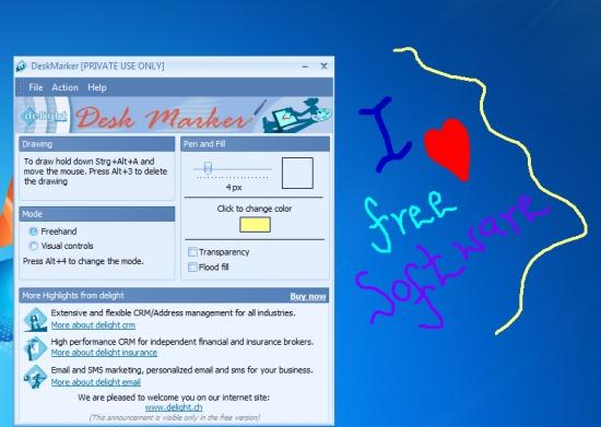 DeskMarker- free drawing program to draw on desktop screen