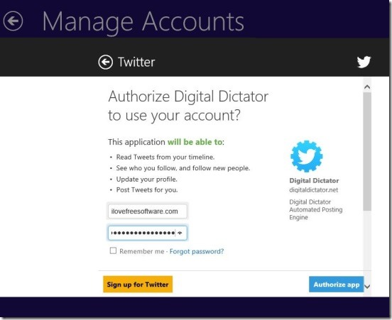 Digital Dictator - connecting to twitter