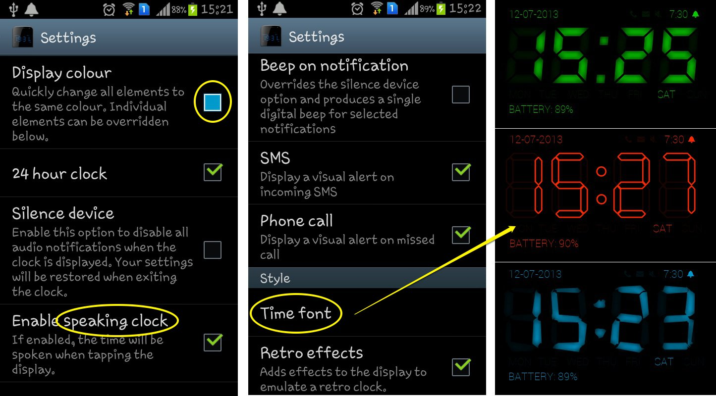 Digital Alarm Clock App For Android With Speaking Clock
