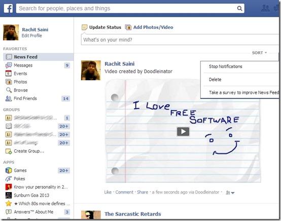 Doodleinator Free- Facebook Share