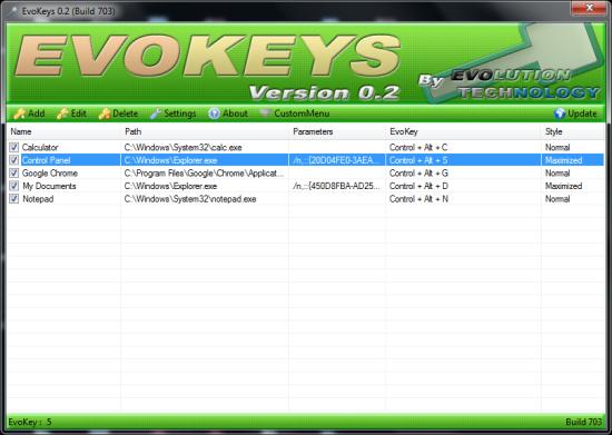 Easily Create Hotkeys For Windows - EvoKeys - Interface