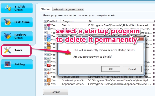EasyPC Cleaner- manage startup entries