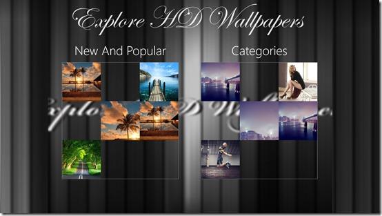 Explore HD Wallpapers- Main screen