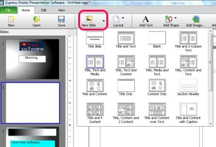 Express Points Presentation Software- select slide layout