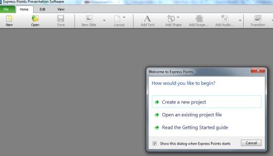 Express Points Presentation Software- start a project