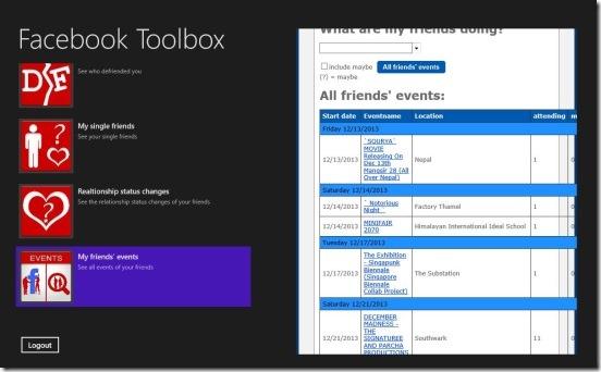 Facebook Toolbox - events