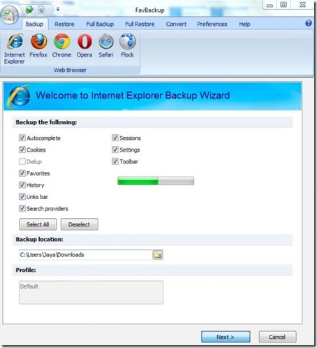 FavBackup-backup software-interface