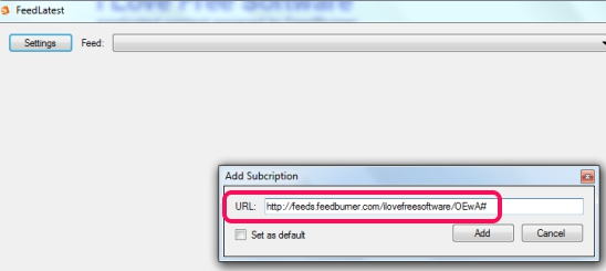 FeedLatest- enter website rss feed url