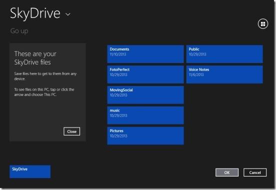File Lister - choosing folder from SkyDrive