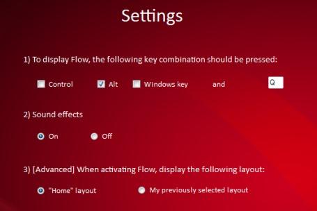 Flow- adjust settings