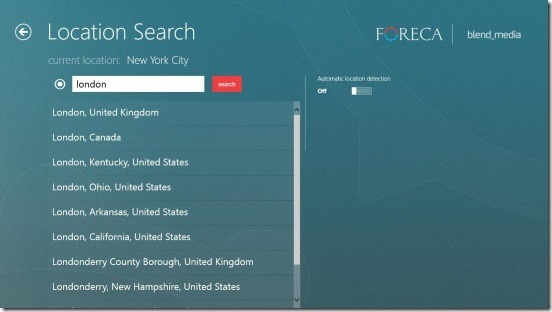 Foreca Weather - search