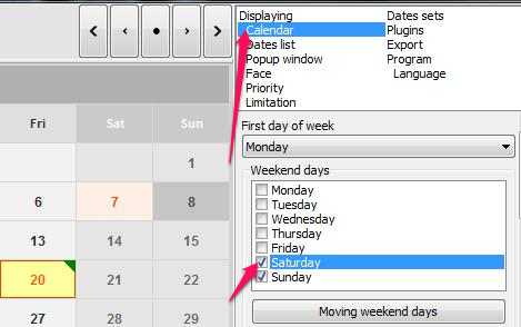 Free Calendar For Windows - Ultimate Calender - Highlight Weekends