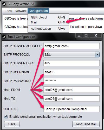 Free Cross Platform File Copy Utility - GBCopy - Email Notification Setup