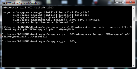 Free Encryption tool - Subcrypter - Command Line Version