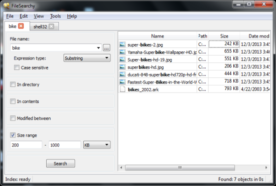 Free File Search Utility - FileSearchy - Interface