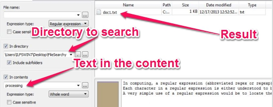 Free File Search Utility - FileSearchy - Searching in content