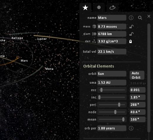 Interactive Space Simulator to Simulate Movement of Planets, Asteroids