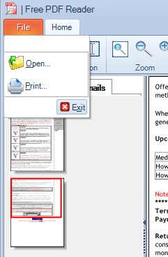 Free PDF Reader- file menu