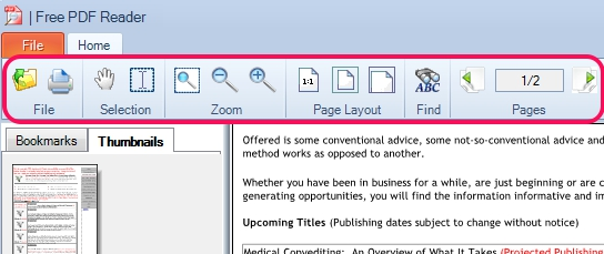 Free PDF Reader- home menu options