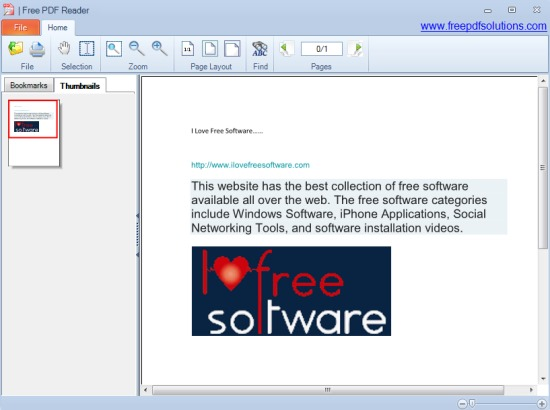 Free PDF Reader- interface