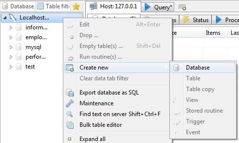 Free SQL Browser - HeidiSQL - Creating Database