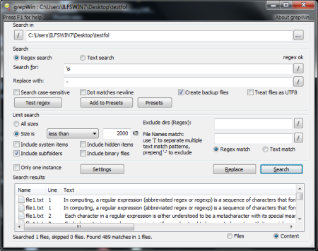 Free Search And Replace Utility - GrepWin - Interface