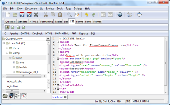 Free Source Code Editor - Bluefish - Interface