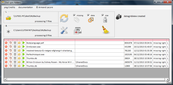 Free Sync Software - Ooii Sync Folders - Interface