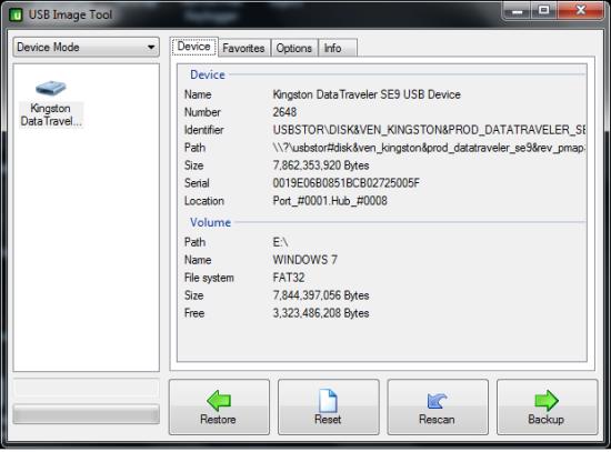 Free USB Image Tool For Windows - USB Image Tool - Interface