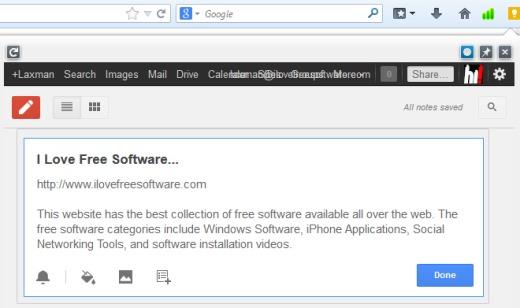 GKeep Panel- access Google Keep