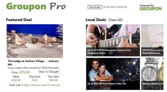 Groupon Pro- Main Screen